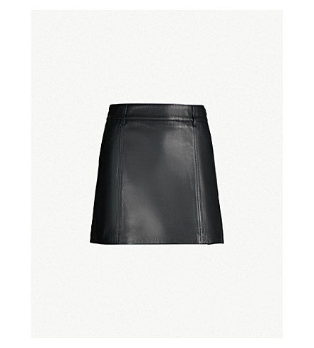 REISS Mimi high-rise leather mini skirt (Black