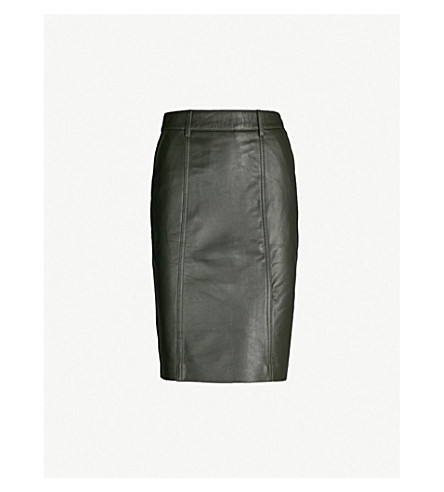 REISS Kara leather pencil skirt (Green