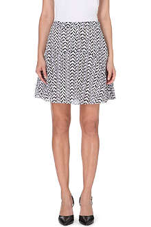 REISS Christa printed silk skirt