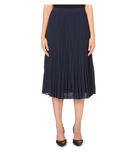 REISS Pleated midi skirt (Indigo