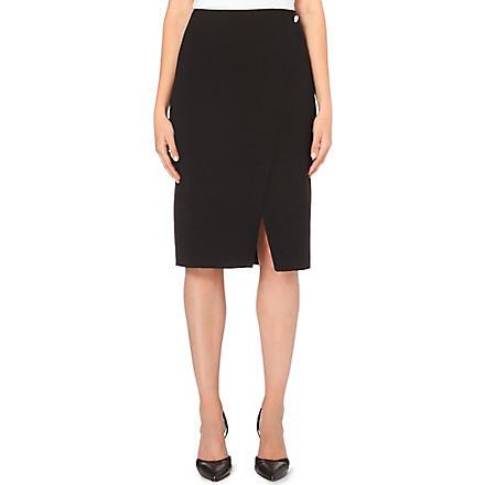 REISS Button wrap style skirt (Black/white