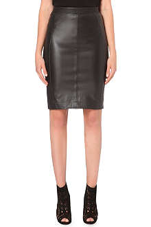REISS Fabric back leather skirt