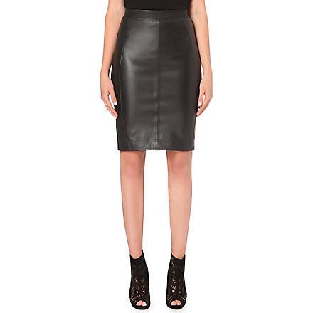 REISS Fabric back leather skirt (Black/white
