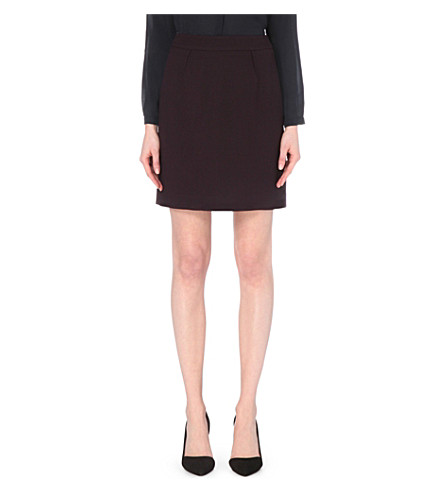 REISS Camila wool-crepe skirt (Grape