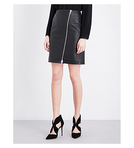 REISS Azure quilted leather skirt (Black