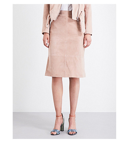 REISS Tess high-rise suede skirt (Blush+pink