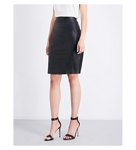 REISS Avril high-rise leather and ponte skirt (Black