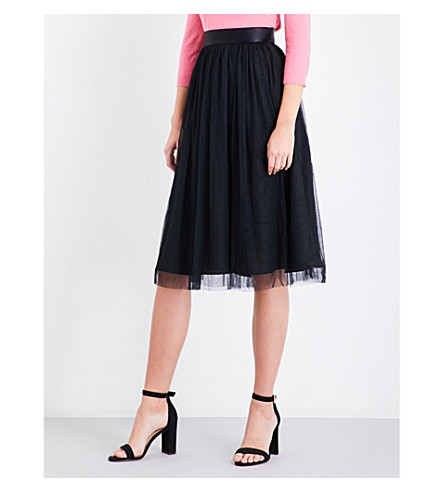 REISS Crystal tulle midi skirt (Black