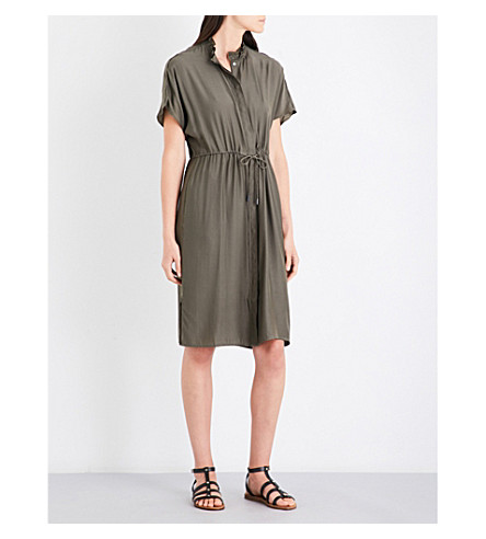 REISS Isabeli gathered waist woven dress (Pine