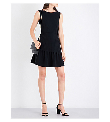 REISS Marisa pintuck crepe dress (Black