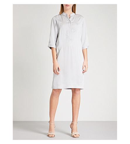 REISS Mccarthy satin-crepe shirt dress (Silver+grey