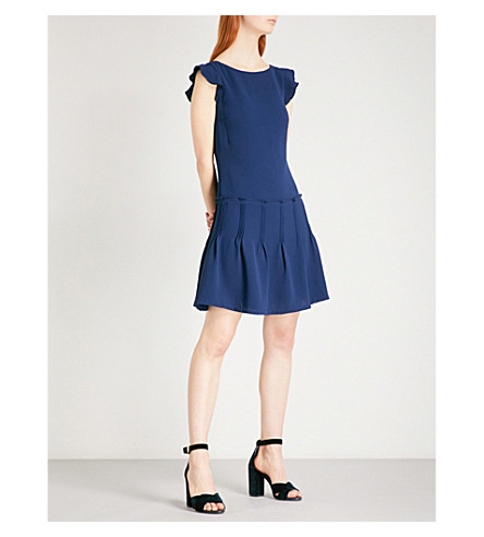 REISS Melanie boat-neck crepe dress (Ink