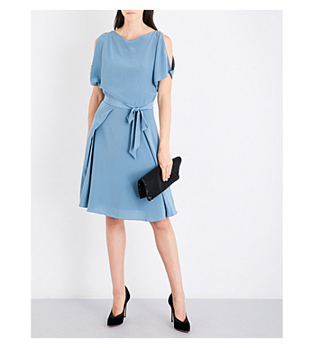 REISS Mira cold-shoulder silk-crepe dress (Orion+blue