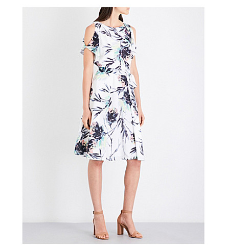 REISS Naomi cold-shoulder chiffon dress (Multi