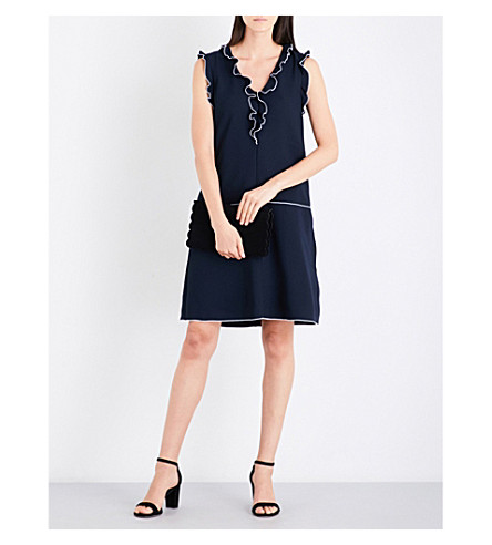 REISS Vivienne frilled crepe dress (Night+navy/off