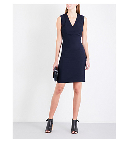 REISS Faulkner V-neck wool-blend dress (Navy