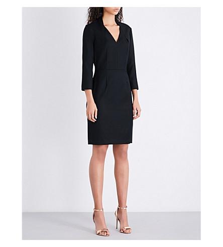 REISS Huxley V-neck wool-blend dress (Black