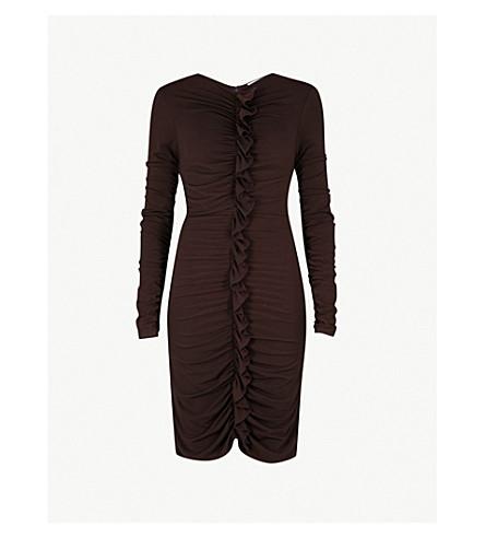 REISS Harriet ruffled-front stretch-crepe dress (Bordeaux