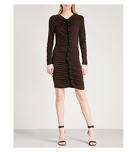 REISS Harriet ruffled-front stretch-crepe dress (Bordeaux