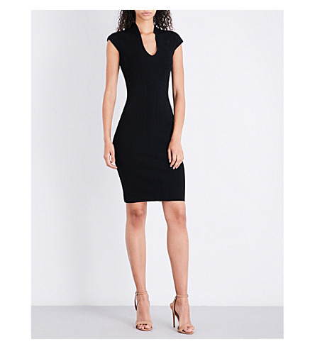 REISS V-neck stretch-knit dress (Black