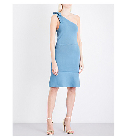 REISS Beatrice one-shoulder knitted dress (Blue