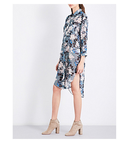REISS Pandora floral-print chiffon shirt dress (Multi+green