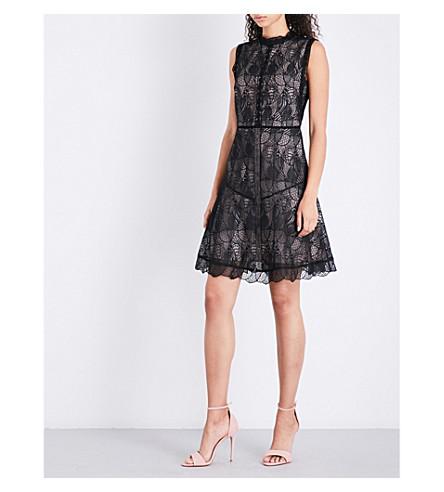 REISS Floral-lace A-line dress (Black