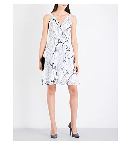 REISS Elsie chiffon dress (Black/off+white