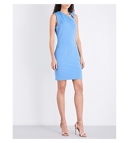 REISS Katerina asymmetric-neckline stretch-knit dress (Sapphire