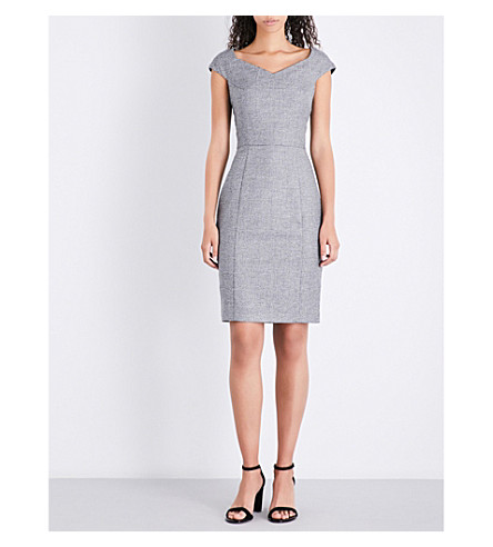 REISS Hampstead V-neck wool-blend dress (Black/white