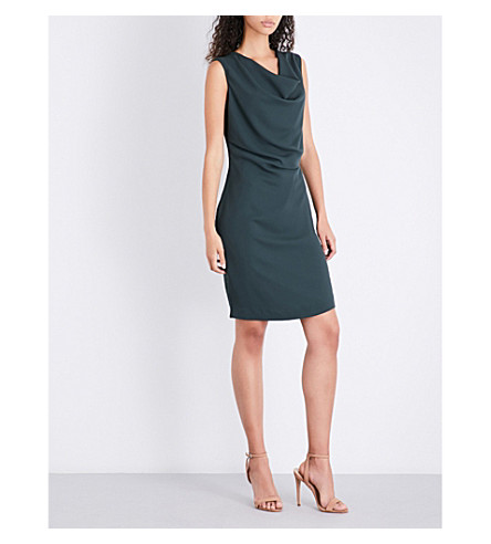REISS Cowl-neck crepe dress (Juniper+new