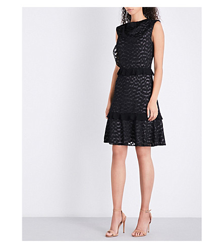 REISS Abigail Geometric-pattern devoré dress (Black/nude