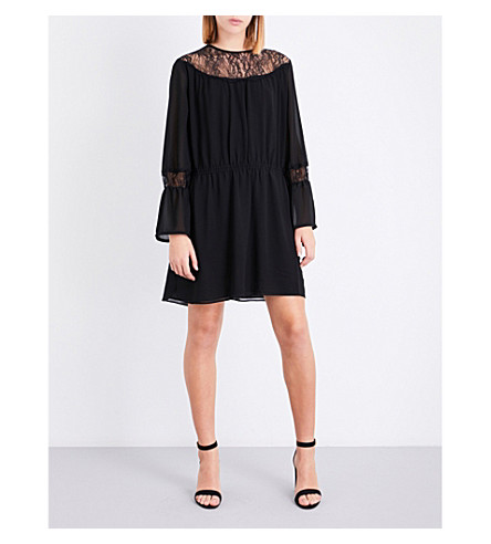 REISS Rexie flared-cuff crepe dress (Black