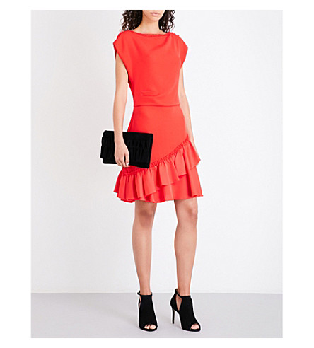 REISS Cecilia ruffle-detail crepe dress (Vermillion