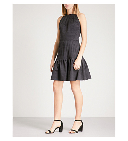 REISS Marelle textured cotton-blend dress (Night+navy