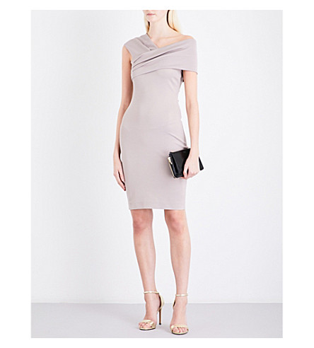 REISS Cristiana asymmetric-neck woven dress (Ash+pink