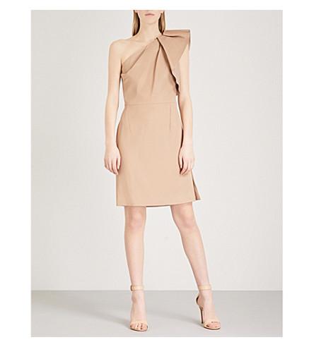 REISS Selika one-shoulder crepe dress (True+camel