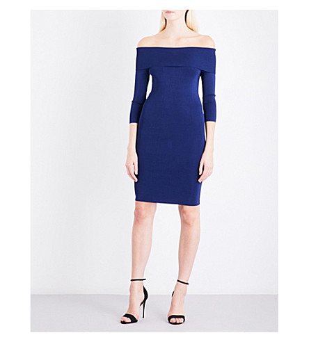 REISS Madeline off-the-shoulder knitted dress (Navy