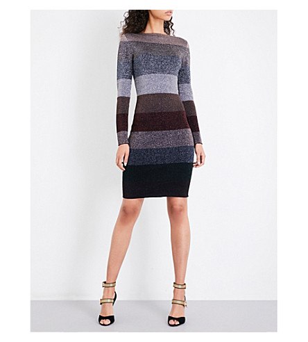 REISS Ashlyn striped metallic-knitted dress (Metallic