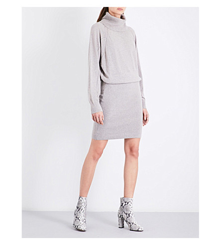 REISS Cyra turtleneck stretch-knit mini dress (Natural