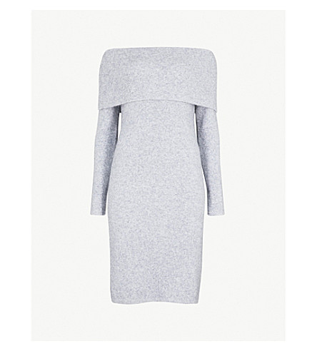 REISS Eliana off-the-shoulder ribbed wool-blend midi dress (Grey