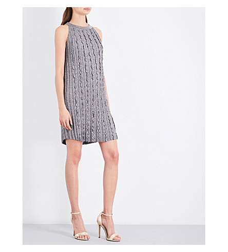 REISS Ethel metallic-knit mini dress (Silver