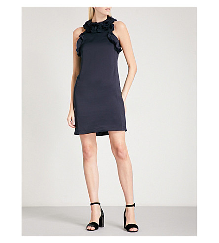 REISS Jolina ruffled-detail satin dress (Night+navy