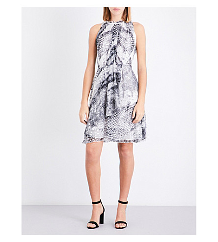 REISS Sibilla fit-and-flare devoré dress (Multi