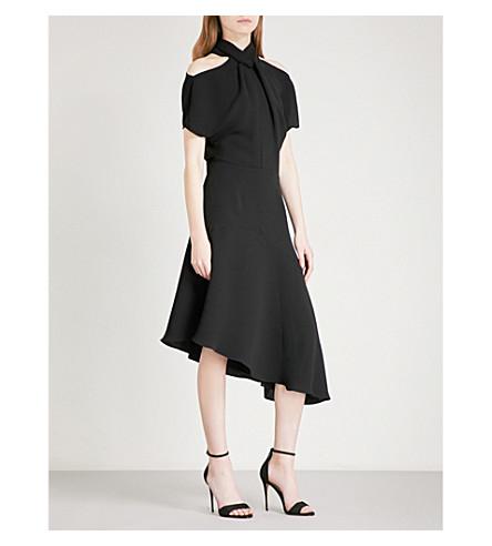 REISS Zinc cold shoulder asymmetric crepe midi dress (Black