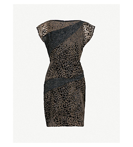 REISS Lulan devoré dress (Black/grey