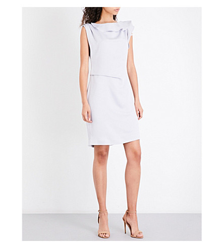 REISS Tyra ruffled crepe mini dress (Chalky+slate