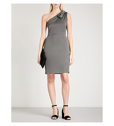 REISS Ennie satin-crepe dress (Midnight+meadow
