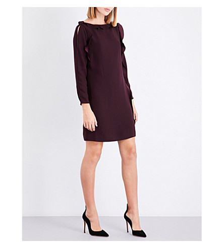 REISS Neptune boat-neck crepe dress (Ox+blood