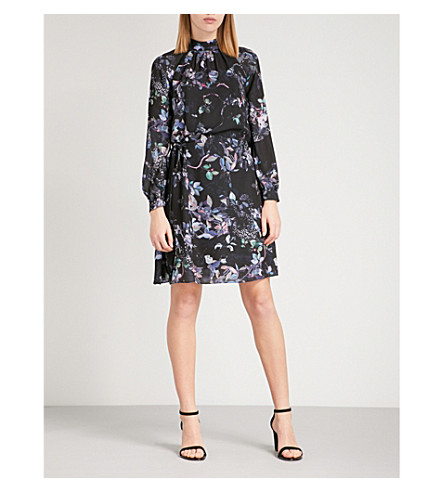 REISS Saturn cutout floral-print chiffon mini dress (Multi